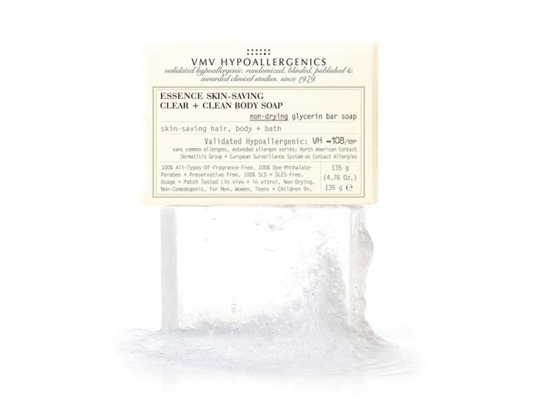 VMV Hypoallergenics Essence Skin-Saving Clear + Clean Body Soap: Non-Drying Glycerin Bar Soap, 4.76 oz