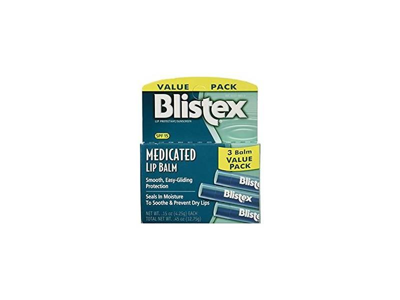 Blistex Medicated Lip Balm, SPF 15, 3 count