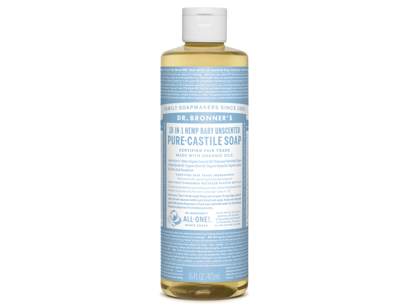 Dr. Bronner's 18-in-1 Hemp Baby Unscented Pure-Castile Soap, 16 fl oz