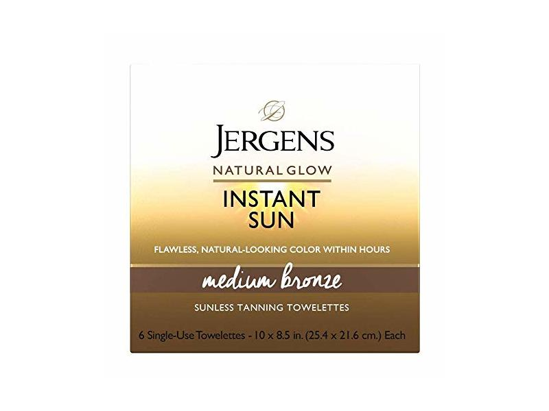 Jergens Natural Glow Instant Sun Full-Body Towelettes, Medium Bronze, Light, Fresh Scent, 6Count