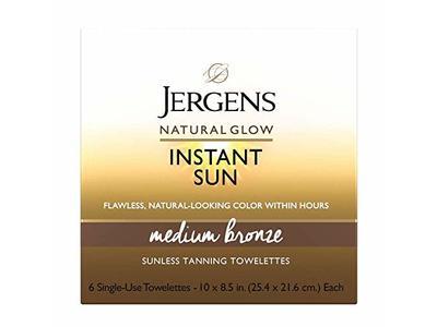 Jergens Natural Glow Instant Sun Full-Body Towelettes, Medium Bronze