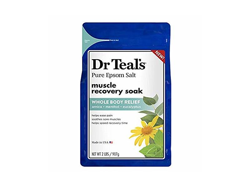 Dr. Teal's Pure Epsom Salt Muscle Recovery Soak, Arnica Menthol Eucalyptus, 2 Lb (Pack of 2)