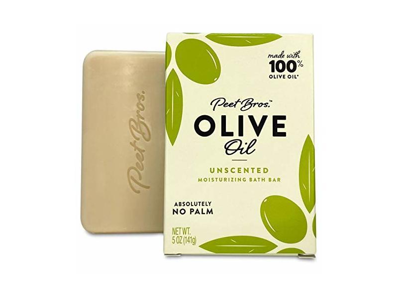 Peet Bros. Palm Oil-Free Olive Oil Bar Soap, Unscented, 5oz