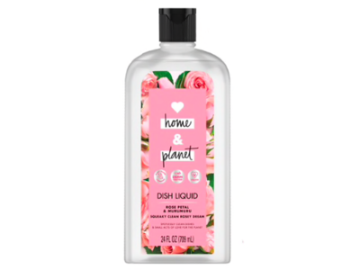 Love Home & Planet Dish Liquid, Rose Petal & Murumuru, 24 fl oz