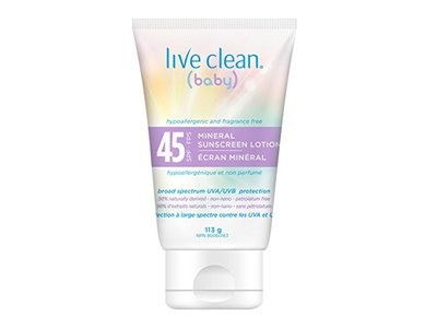 Live Clean Baby Mineral Sunscreen Lotion 45 FPS, 113g