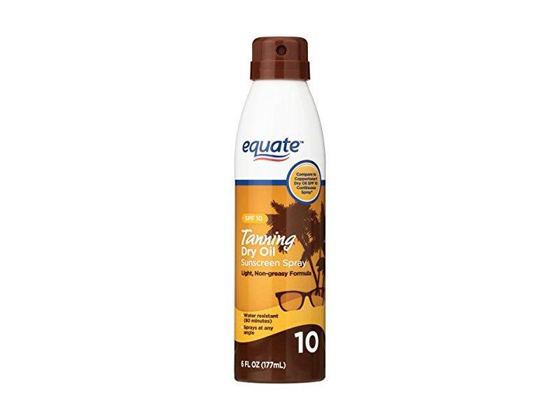 Equate Tanning Dry Oil Sunscreen Spray, SPF 10, 6 Fl Oz
