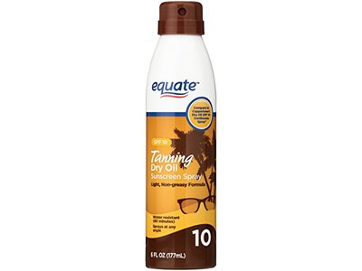 Equate Tanning Dry Oil Sunscreen Spray, SPF 10, 6 Fl Oz