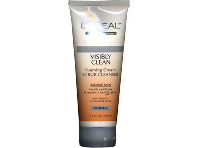 L'Oreal Visibly Clean Foaming Cream Scrub Cleanser for Normal Skin, 6.5 oz