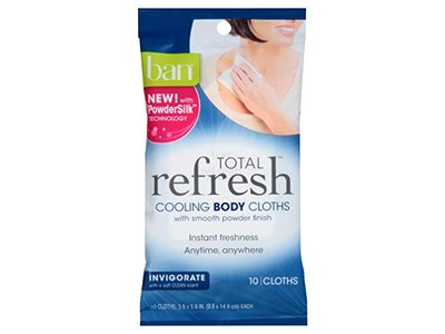 Ban Total Refresh Total Cooling Body Cloths - Invigorates 10 Count 3 Pack