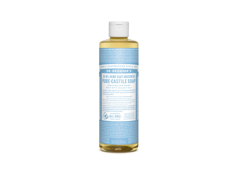 Dr. Bronner's 18-in-1 Hemp Baby Unscented Pure-Castile Soap, 32 fluid oz