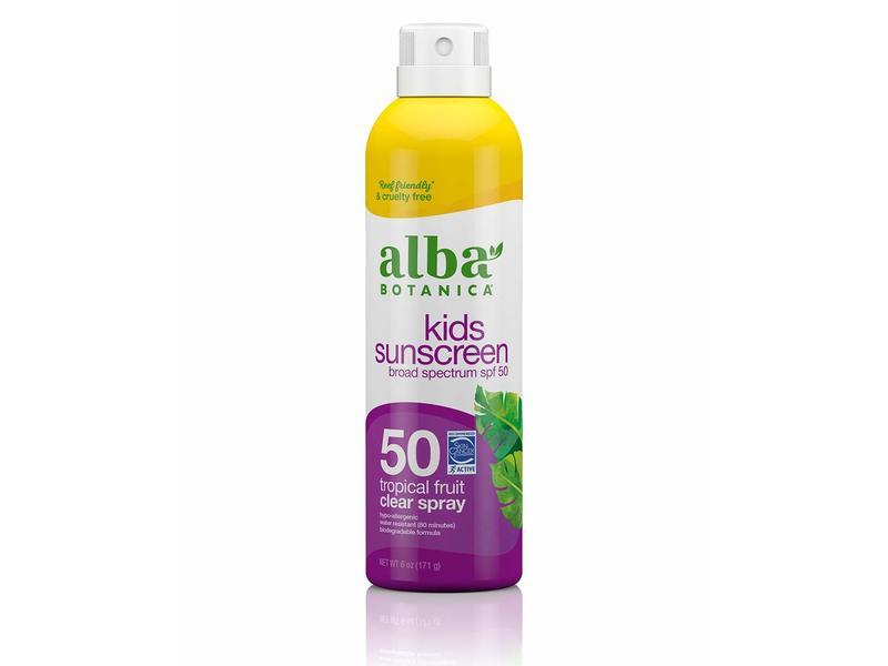 Alba Botanica Kids Clear Spray Sunscreen SPF 50, Tropical Fruit, 6 oz