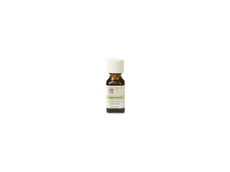 Aura Cacia 100 Percent Pure Peppermint Essential Oil, 0.5 Ounce