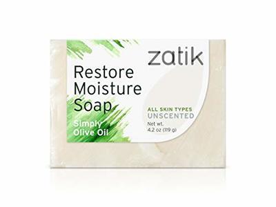 Zatik Restore Moisture Soap, Simply Olive Oil, Unscented, 4.2 oz/119 g