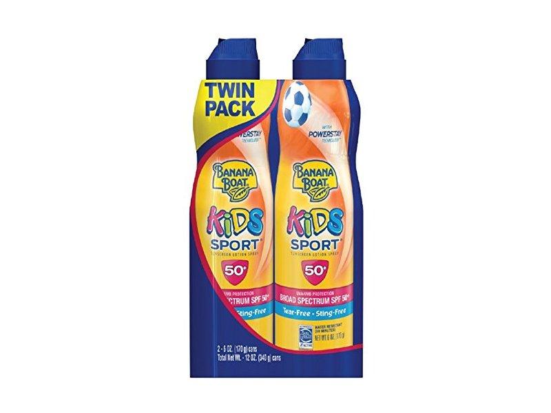Banana Boat Kids Sport Broad Spectrum Ultra Mist Sunscreen Spray, SPF 50, 12 Ounce, Twin-Pack