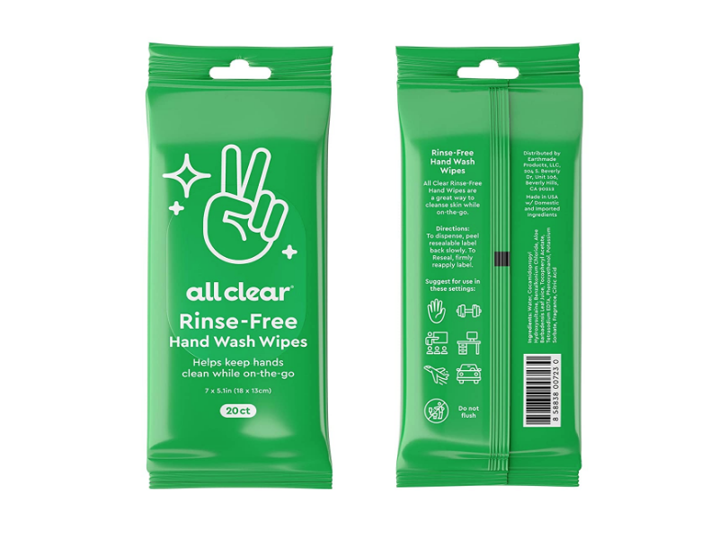 All Clear Rinse-Free Hand Wash Wipes, 20 Count, Pack Of 12
