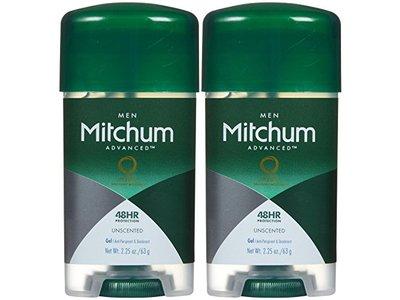 Mitchum Men Advanced Control Anti-Perspirant & Deodorant Gel, Unscented, 2.25 oz (Pack of 2)