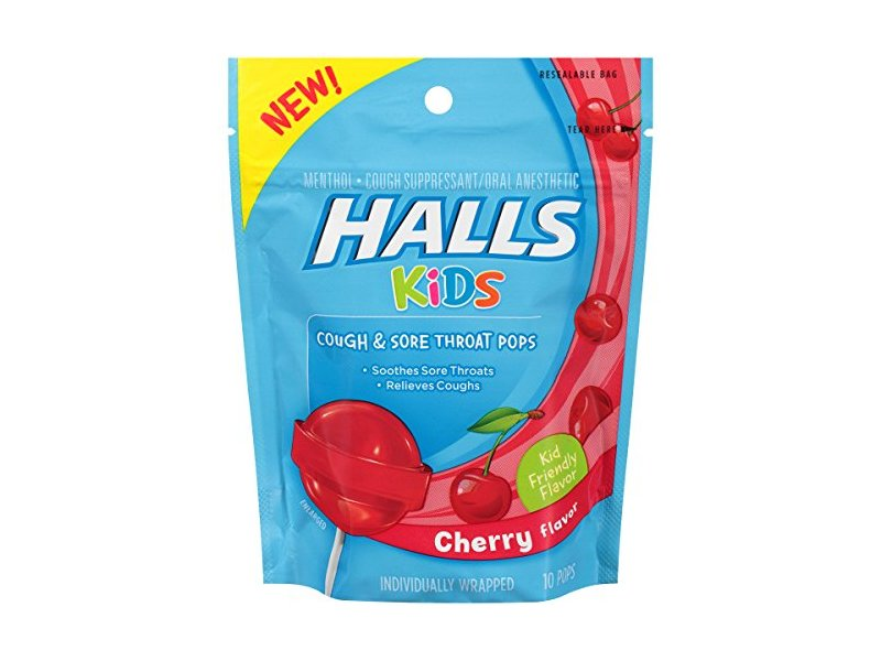 Halls Kids Pops Cough and Sore Throat, Cherry, 10 Count