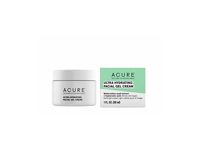 Acure Ultra Hydrating Facial Gel Cream, Watermelon Seed Extract & Hyaluronic Acid, 1 fl oz/30 mL