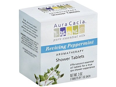 Aura Cacia Aromatherapy Shower Tablets, Reviving Peppermint, 3 ct