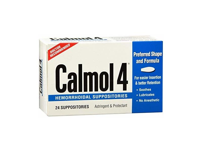 Calmol 4 Hemorrhoidal Suppositories 24 Each (Pack of 3)