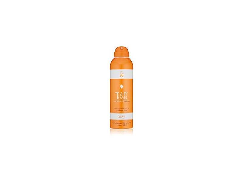 TanTowel Sunscreen Mist Clear, SPF 30, 6 fl oz