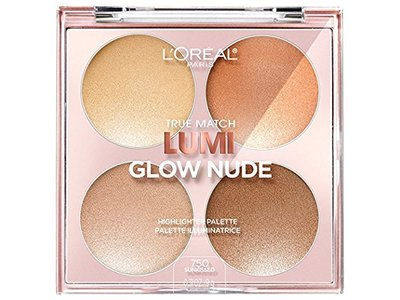 L'Oreal Paris True Match Lumi Glow Nude Highlighter Palette, 750 Sunkissed, 0.26 oz