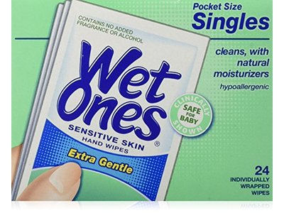 WET ONES Sensitive Skin Hand Wipes, Singles Extra Gentle Fragrance & Alcohol Free 24 ea ( Pack of 5)