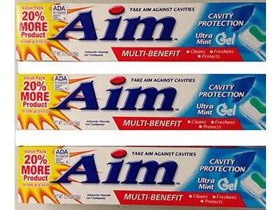 Aim Multi-Benefit Cavity Protection Gel Toothpaste, Ultra Mint 5.50 oz - Image 1