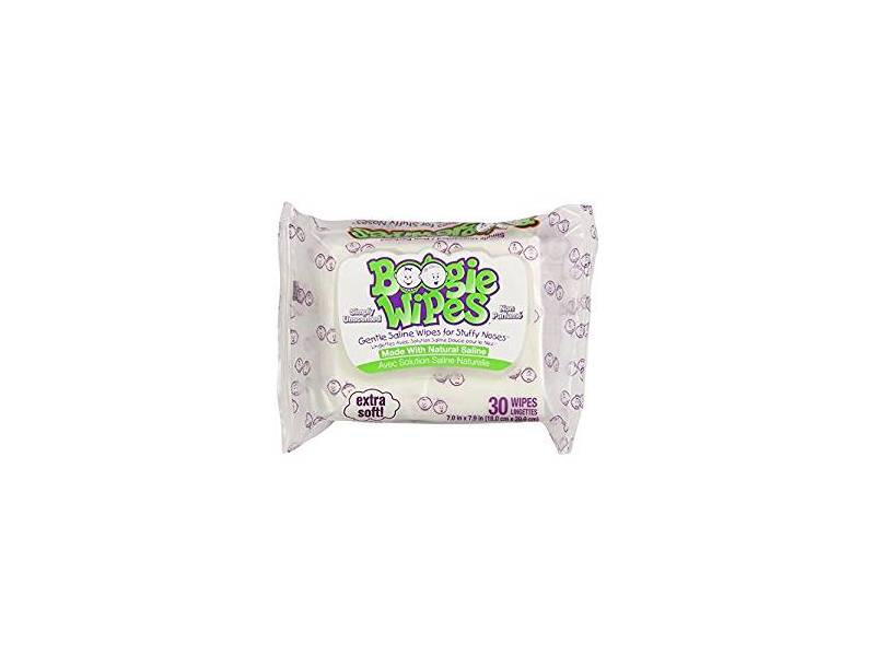 Boogie Wipes Natural Saline Kids and Baby Nose Wipes, Unscented, 30 ct