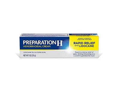 Preparation H Hemorrhoidal Cream Rapid Relief with Lidocaine, 1.0 oz - Image 1