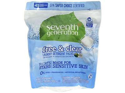 Seventh Generation Laundry Detergent Packs, Free & Clear, 45 Packets
