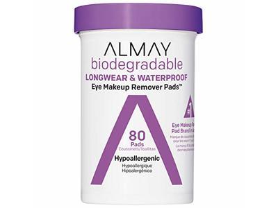 Almay Biodegradable Longwear & Waterproof Eye Makeup Remover Pads, 80 Pads