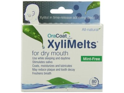 OraCoat XyliMelts for Dry Mouth, Mint-Free, 80 discs