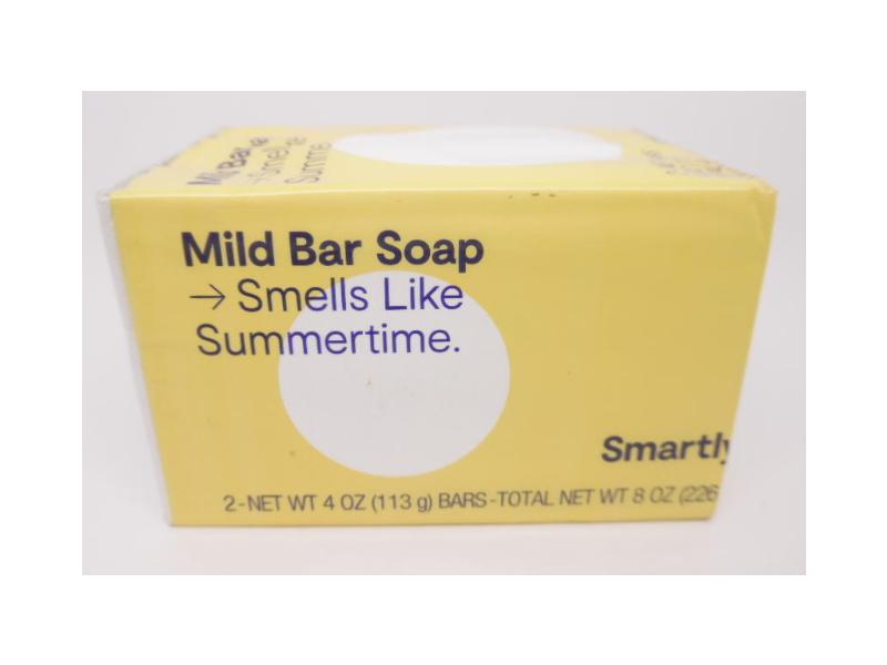 Smartly Mild Bar Soap, Smells Like Summertime, 4 oz, Pack Of 2