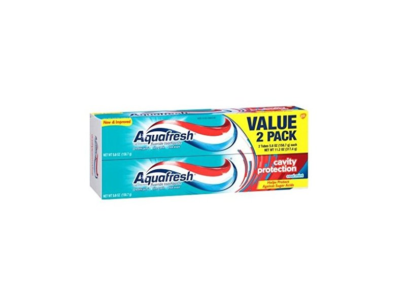 Aquafresh Cavity Protection Flouride Toothpaste, Cool Mint, 5.6 oz (Pack of 2)