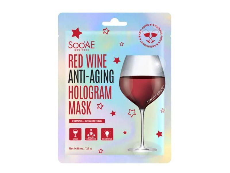 SooAE Red Wine Anti-Aging Hologram Mask, 0.88 oz