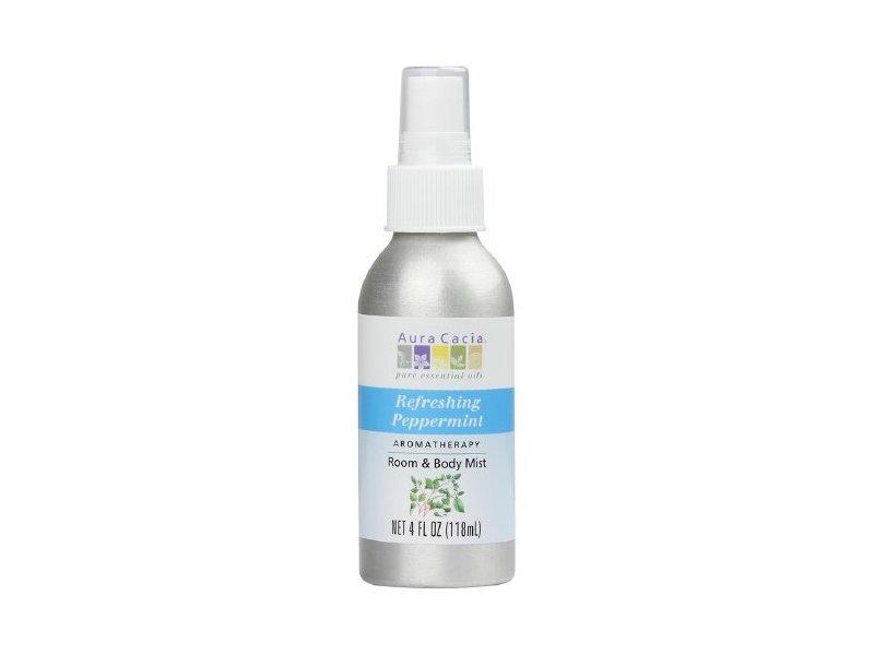 Aura Cacia Aromatherapy Room & Body Mist, Peppermint, 4 fl oz (118 mL)