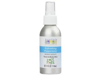 Aura Cacia Aromatherapy Room & Body Mist, Peppermint, 4 fl oz (118 mL) - Image 1