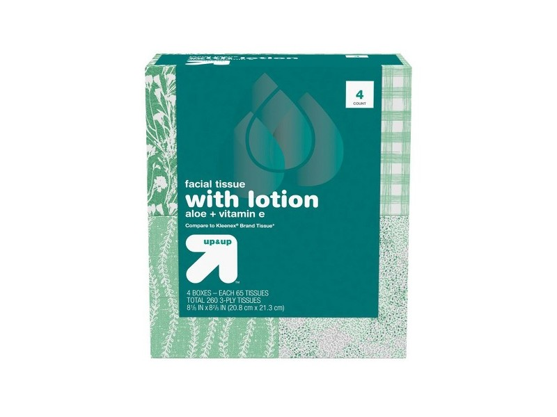 Up & Up Facial Tissue with Lotion, 4 Boxes