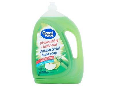 Great Value Dishwashing Liquid & Antibacterial Hand Soap, Green Apple Scent