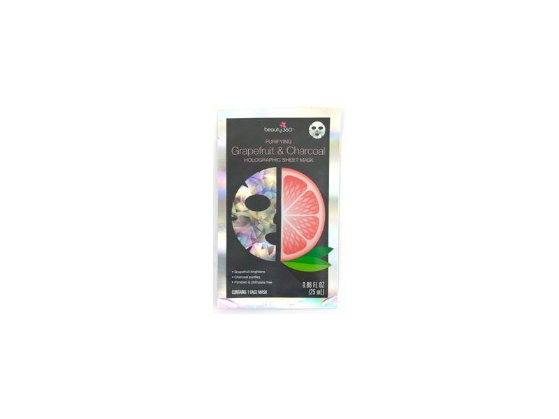 Beauty 360 Purifying Grapefruit & Charcoal Holographic Sheet Mask