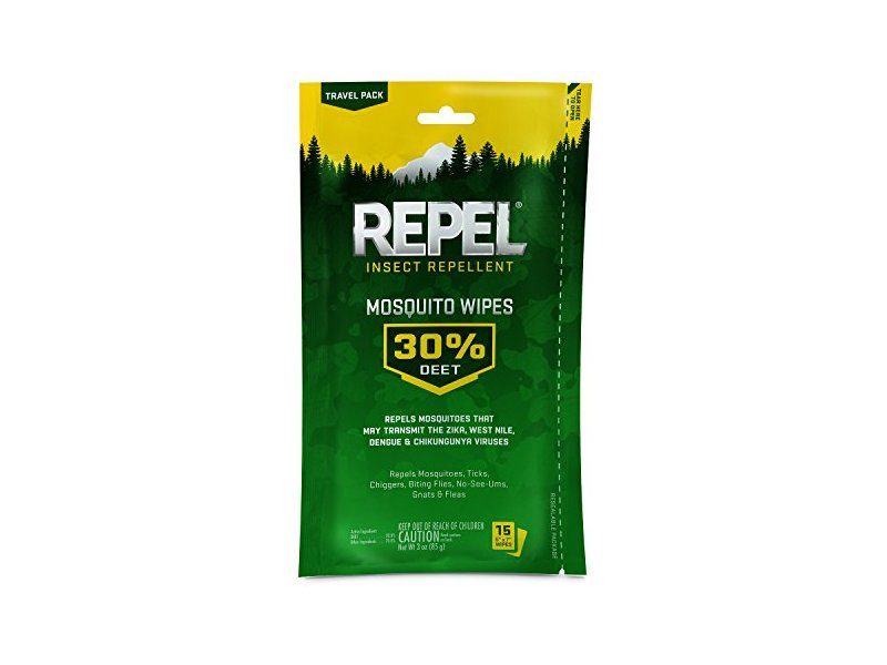 Repel Insect Repellent Mosquito Wipes 30% Deet, 15 wipes