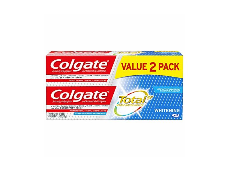 Colgate Total Whitening Toothpaste, 4.8 oz, Pack Of 2