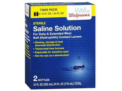Well At Walgreens Sterile Saline Solution, 12 fl oz (Pack of 2)