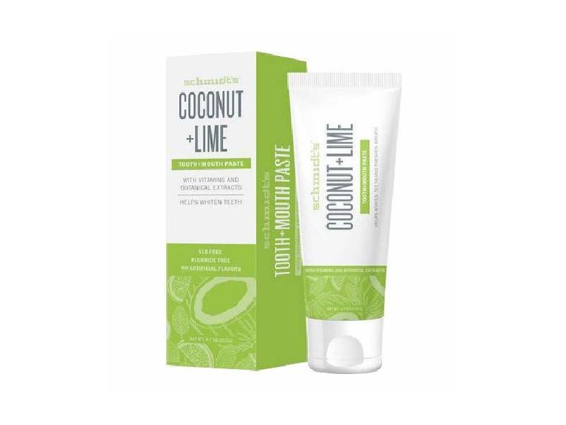 Schmidt's Teeth Whiten Toothpaste, Coconut & Lime, 4.70 oz / 133 g