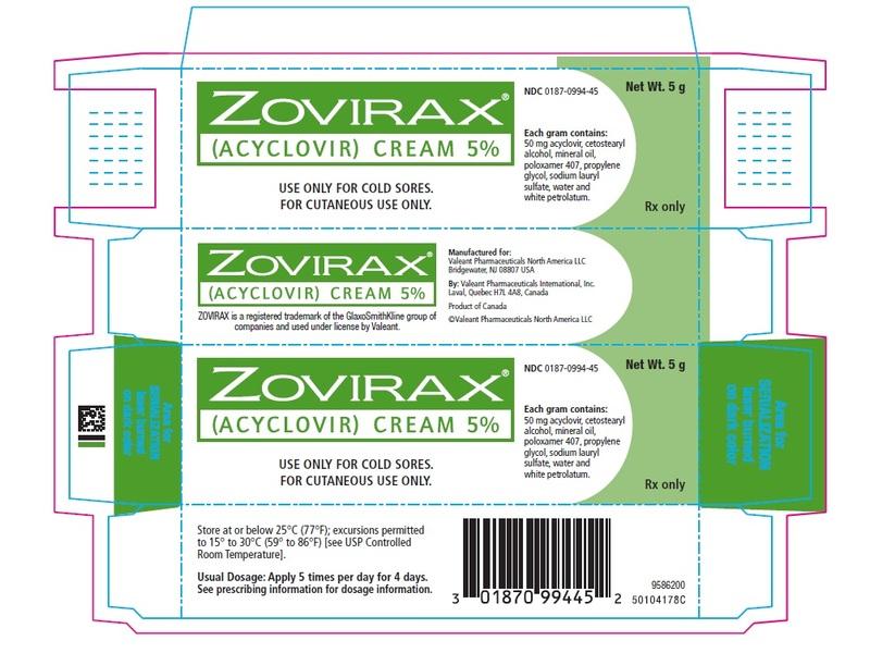 Zovirax Topical Cream 5% (RX), 2 Grams, Valeant