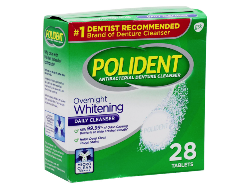 Polident Overnight Whitening Daily Denture Cleanser, 28 Tablets
