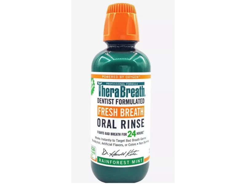 TheraBreath Fresh Breath Oral Rinse, Rainforest Mint, 16 fl oz / 473 ml