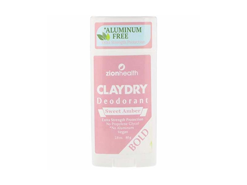 Zion Health ClayDry Bold Sweet Amber Deodorant, 2.8 oz Stick