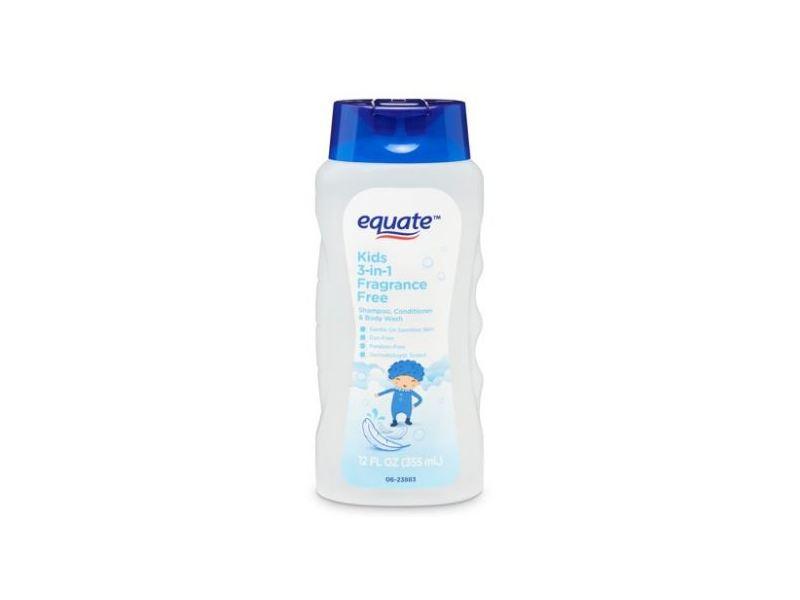 Equate Kids 3-in-1 Fragrance Free Shampoo Conditioner & Body Wash, 12 fl oz